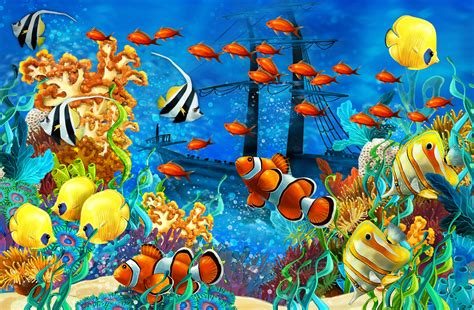 wallpaper colorful fish and interactive water shipwreck sea seabed fish corals underwater ocean tropical