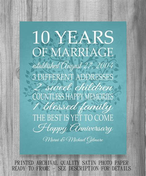 Wedding Anniversary With Your Name Picture Song Message by 10 Year Anniversary Gift Print Wedding Anniversary