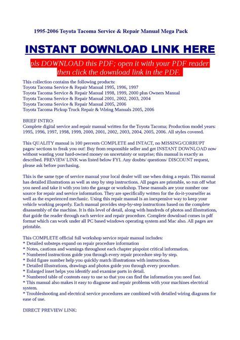 service manual 1995 toyota tacoma repair manual pdf service manual pdf 2003 toyota tacoma 1995 2006 toyota tacoma service repair manual mega pack by dalire vorrax issuu