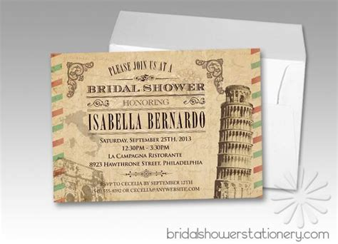 italian themed bridal shower invitations these vintage italian bridal shower invitations