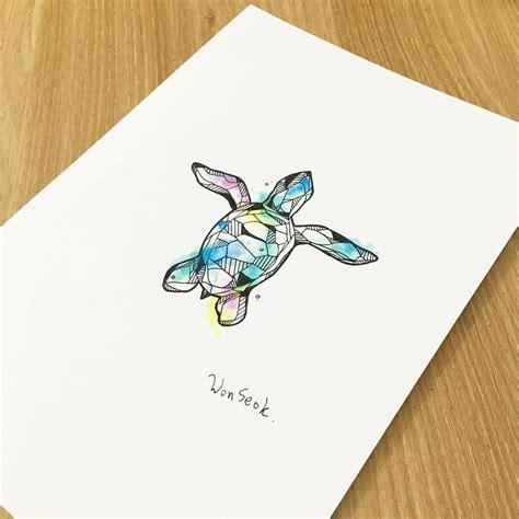 watercolor geometric turtle tattoo ocean tattoo