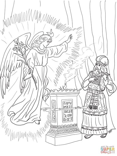 coloring page zechariah angel visits zechariah coloring page free printable