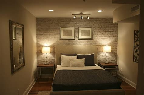 exposed brick bedroom staged bedroom in condo exposed brick wall painted and