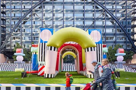 design milk london design festival camille walala inflates bouncy pink and patterned villa