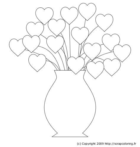 heart tree coloring page coloriage bouquet de coeurs