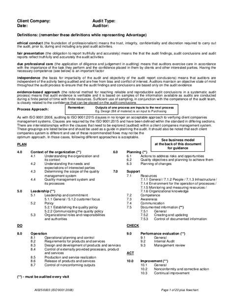 audi warranty check ai025 iso 9001 2015 checklist