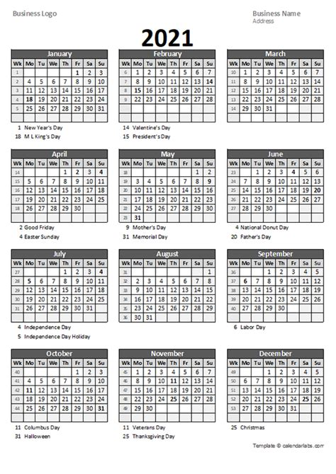 yearly business calendar  week number  printable templates