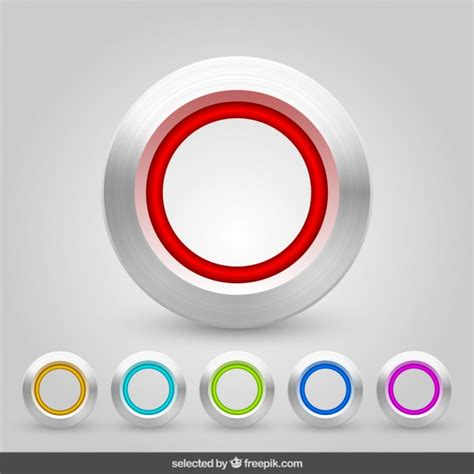 design icon button free aluminum buttons collection vector free download