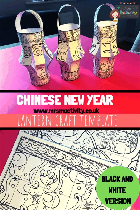 chinese lantern craft template blackwhite  mactivity