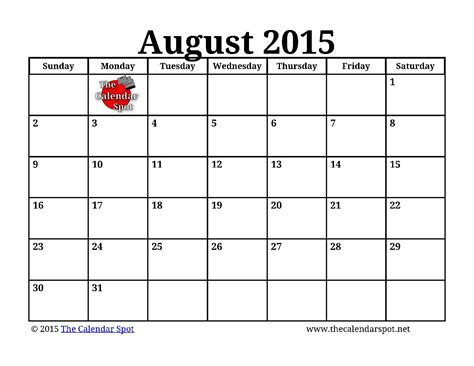 August Printable Calendar 2015 7 Best Images Of Printable August Calendar Big Print