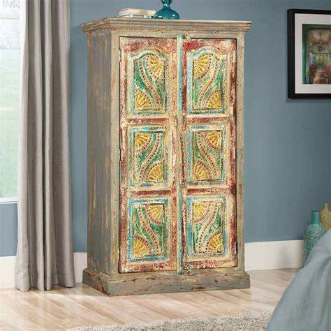 Free Standing Armoire by Gogh Swirls Mango Wood 2 Door Free Standing Armoire Cabinet