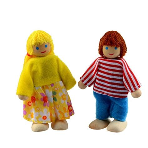 piece poseable wooden doll family pretend play mini
