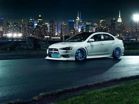 white mitsubishi evo wallpaper mitsubishi lancer evo x white car tuning wheels hd desktop