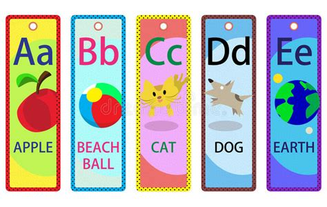 printable educational bookmarks alphabet educational bookmarks a e for kids stock vector
