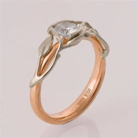 two tone leaves engagement ring gold engagement ring