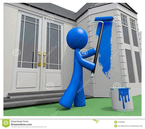 looking for a man who paints houses blue man painting his house with paint roller stock