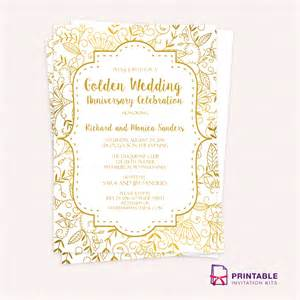 anniversary invitation template golden wedding anniversary invitation template wedding
