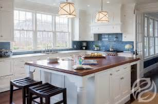 Blue Kitchens With White Cabinets by White Kitchen Cabinets With Blue Subway Tiles