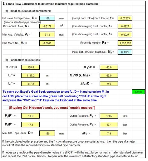Excel Spreadsheet Calculations fanno flow excel screenshot low cost easy to use