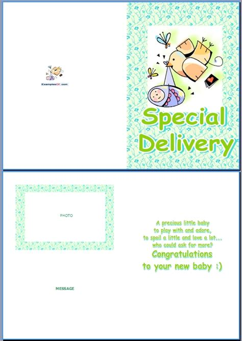 Baby Name Card Template by Exle Of Baby Birth Card Special Delivery