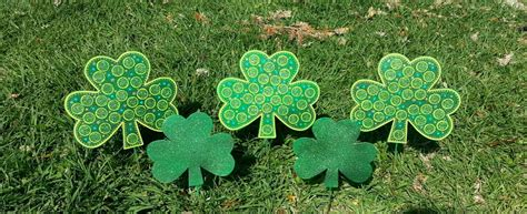 set of 2 st patricks day decoration shamrock garden decor