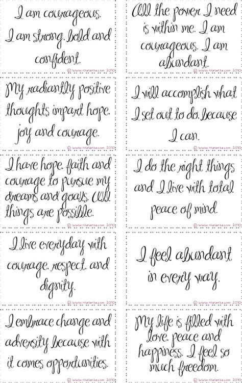 affirmation card templates free printable courage affirmation cards in session