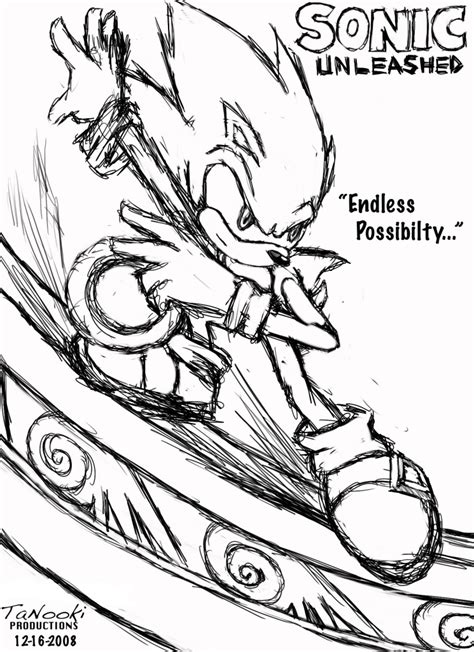 unleashed coloring pages sonic unleashed sketch by tanooki128
