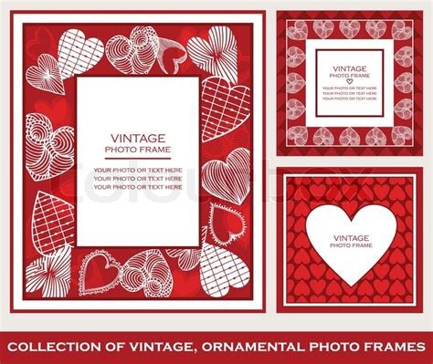 Retro, abstract photo frames set on St. Valentine's Day