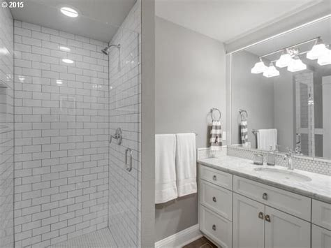 Small Master Bathroom Renovation Ideas - contemporary 3 4 bathroom with complex marble counters amp flat panel cabinets in portland or