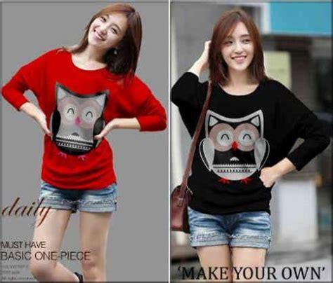 Kaos Oblong Cewek All Size Fit To L kaos casual owl s145 combed kaos cewek korea murah