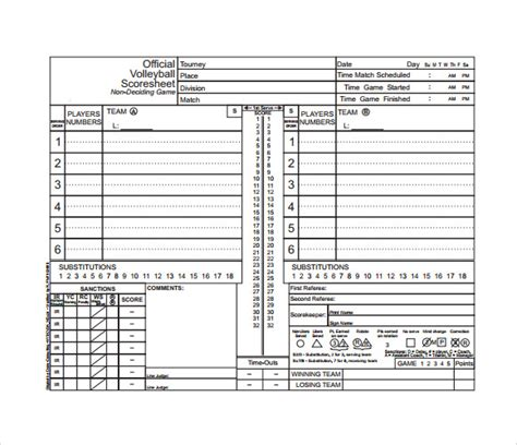 free printable volleyball score sheets sle volleyball score sheet 11 documents in pdf