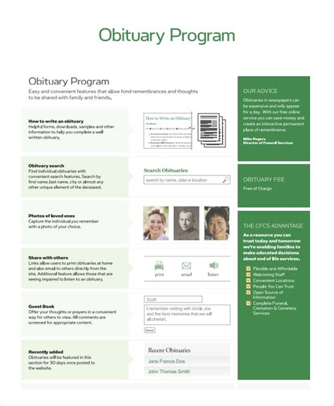 8 Obituary Program Templates Sle Templates Obituary Template Funeral Program