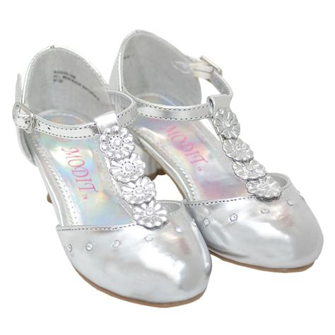 toddler silver shoes silver flower kitten heel dress pageant shoes toddler 5