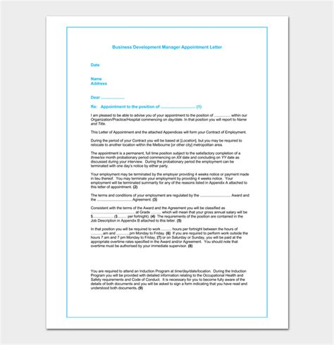 appointment letter format for business development executive business appointment letter template 13 sles formats