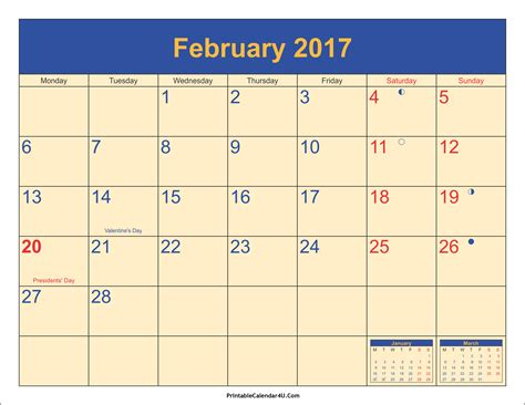 feb week february 2017 calendar with holidays weekly calendar