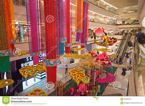 new year decoration shopping mall avenue k shopping mall interior editorial stock image