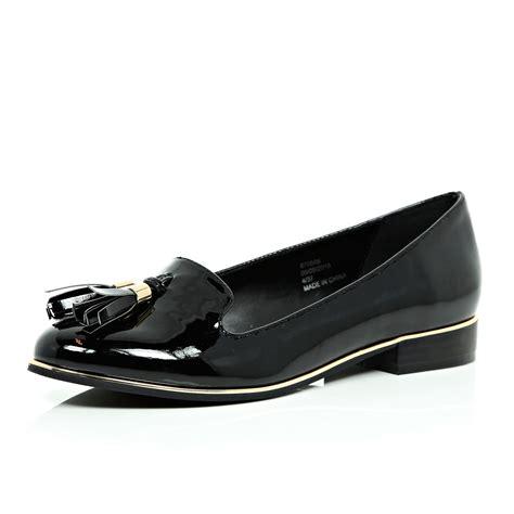 river island loafer river island black patent tassel loafers in black lyst
