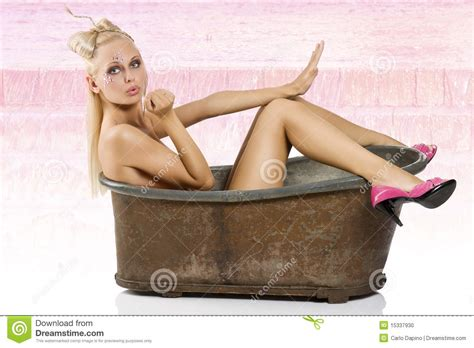 pin up girl in bathtub pinup in bath with pink shoes stock photo image 15337930