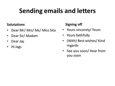 letter dear sir madam yours faithfully sending s and letters ppt