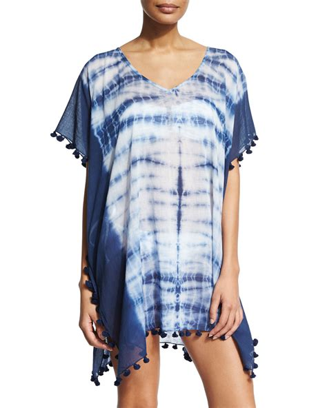 seafolly project tie dye caftan coverup in white lyst