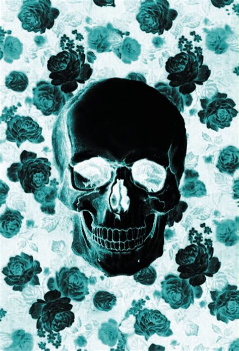 wallpaper skull flower turquoise image 3181311 by bobbym on favim com