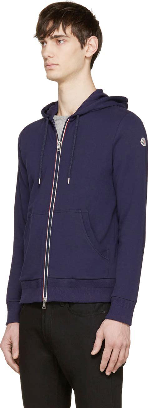Hoodie Zipper Logo Ibm Navy moncler navy zip up logo hoodie in blue for lyst
