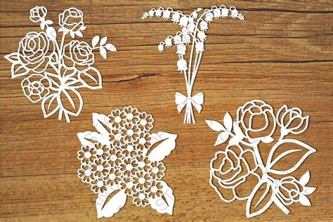 floral paper cut out card template flowers svg files for silhouette cameo design bundles