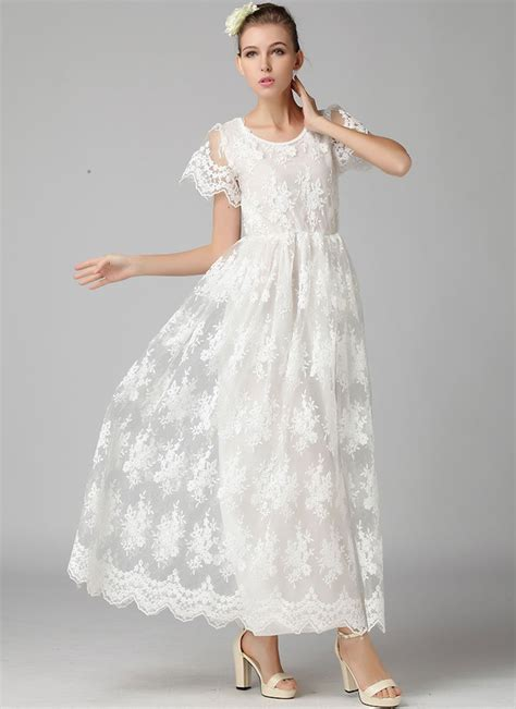 Real Pic 135rb Maxi Onde Scallop white embroidered organza lace maxi dress with scalloped hem rm365