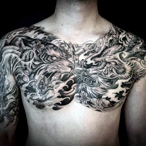 40 dragon chest tattoo designs for men mythical monster