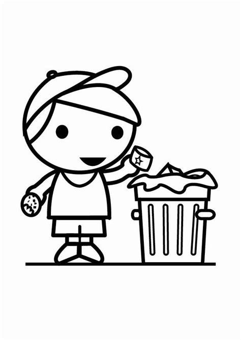 Coloriage déchets dans la poubelle - img 25535
