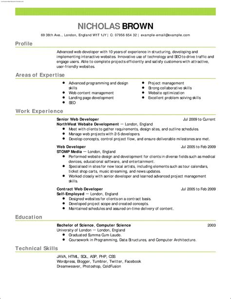 Resume Template Free by 100 Free Resume Templates Sle Resume Cover Letter Format
