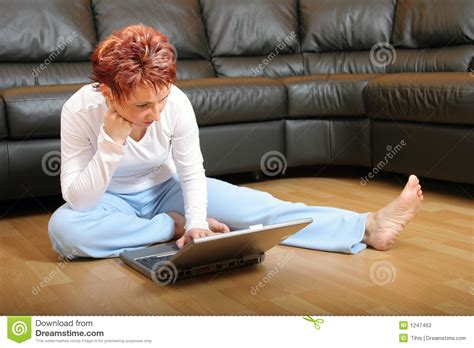 How To Sit On The Floor Comfortably by On A Laptop 4 Stock Photos Image 1247463