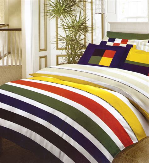 bed sheets online bombay dyeing multicolor striped double bedsheet set by