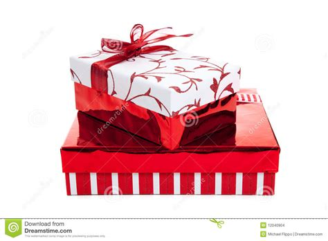stack  red  white wrapped christmas presents stock images image
